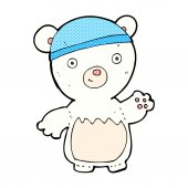 Comic cartoon polar bear wearing hat — Stock Vector