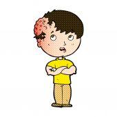 Comic cartoon boy with growth on head — Stock Vector