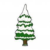 Comic cartoon snowy tree — Stock Vector