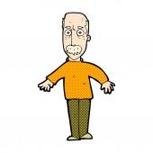 Comic cartoon annoyed old man — Stock Vector