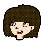 Comic cartoon happy female face — Stock Vector
