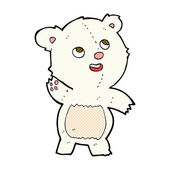 Comic cartoon cute waving polar bear teddy — Stock Vector