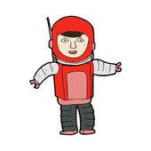 Comic cartoon astronaut — Cтоковый вектор