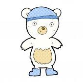Comic cartoon cute polar bear — 图库矢量图片