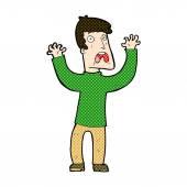 Comic cartoon frightened man — Stock Vector