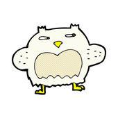Comic cartoon suspicious owl — Stok Vektör