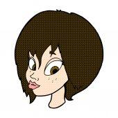 Comic cartoon pretty female face pouting — Stock Vector