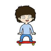 Comic cartoon boy on skateboard — Stock Vector