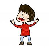 Comic cartoon stressed boy — Stock Vector