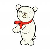 Cute comic cartoon polar teddy bear — Stock vektor