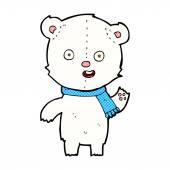 Comic cartoon waving polar bear cub with scarf — Stock Vector