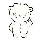 Comic cartoon waving polar bear — Stock Vector