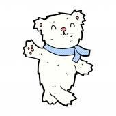 Comic cartoon waving teddy polar bear — Stock Vector