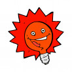 Happy flashing red light bulb comic cartoon — Stock Vector #73746229