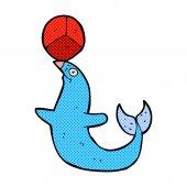 Comic cartoon performing seal — Stock Vector