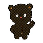 Comic cartoon waving black bear cub — Stock Vector