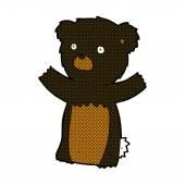 Comic cartoon black bear cub — Stock Vector