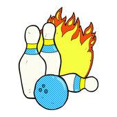 Ten pin bowling comic cartoon — Stock Vector