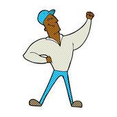 Comic cartoon man striking heroic pose — Stock Vector