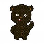 Cute comic cartoon black bear — Stock Vector