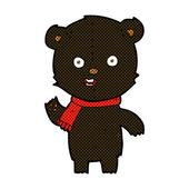 Comic cartoon waving black bear cub with scarf — Stock Vector