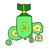 Comic cartoon nuclear bomb — Stock Vector