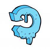 Comic cartoon melting arrow symbol — Stock Vector
