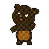Comic cartoon cute waving black bear teddy — Stock Vector