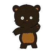 Comic cartoon waving black bear — Stock Vector