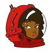 Comic cartoon female astronaut — Stock Vector