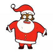 Comic cartoon shocked santa claus — Stock Vector