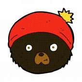 Comic cartoon teddy bear face — Stock Vector