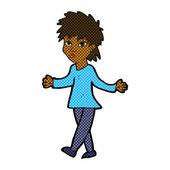 Comic cartoon woman shrugging shoulders — Cтоковый вектор