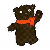 Comic cartoon teddy bear wearing scarf — Stock Vector