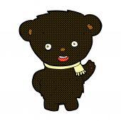 Comic cartoon black bear waving — Stock Vector