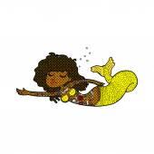 Komische Cartoon Meerjungfrau in Tätowierungen bedeckt — Stockvektor