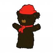 Comic cartoon cute black bear in hat and scarf — Stock Vector