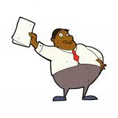 Comic cartoon boss waving papers — Stock Vector