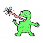 Comic cartoon frog catching fly — Stock Vector #74312893