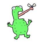 Comic cartoon frog catching fly — Stock Vector #74315607