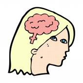 Comic cartoon female head with brain symbol — Stock Vector