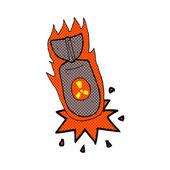 Comic cartoon atom bomb — Stock Vector