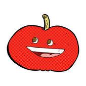 Comic cartoon happy apple — Vettoriale Stock