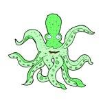 Comic cartoon giant octopus — Stock Vector #74322805