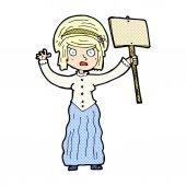 Comic cartoon vicorian woman protesting — Stock Vector
