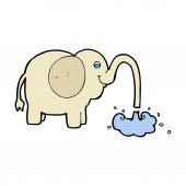 Comic cartoon elephant squirting water — Stock Vector