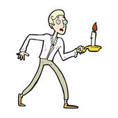Comic cartoon frightened man walking with candlestick — Stock Vector