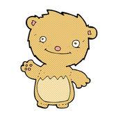 Comic cartoon waving teddy bear — Stock Vector
