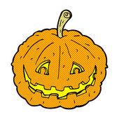 Comic cartoon grinning pumpkin — Stock Vector
