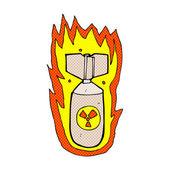 Comic cartoon flaming bomb — Stock Vector